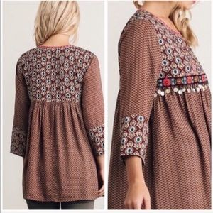 Tops - Brown Boho Chic Tunic Babydoll Blouse Size Small